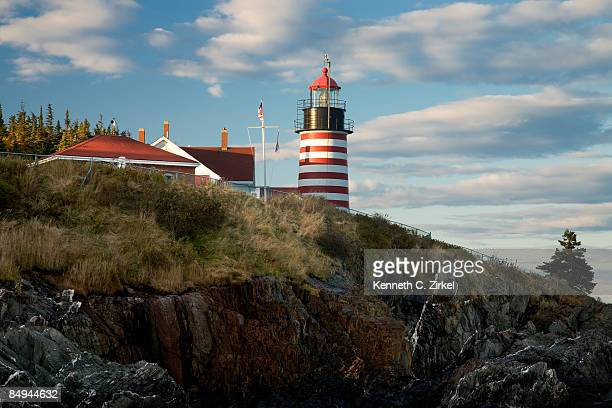 west quoddy head light - west quoddy head lighthouse stock photos and pictures