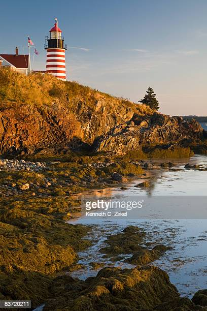 west quoddy head lighthouse, maine - west quoddy head lighthouse stock photos and pictures