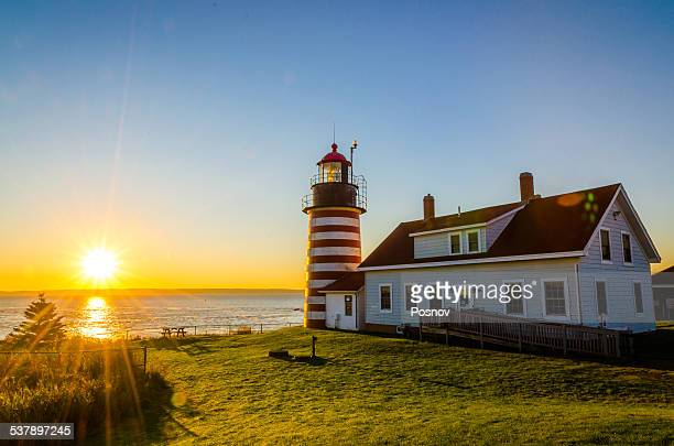 west quoddy head lighthouse - lubec stock photos and pictures