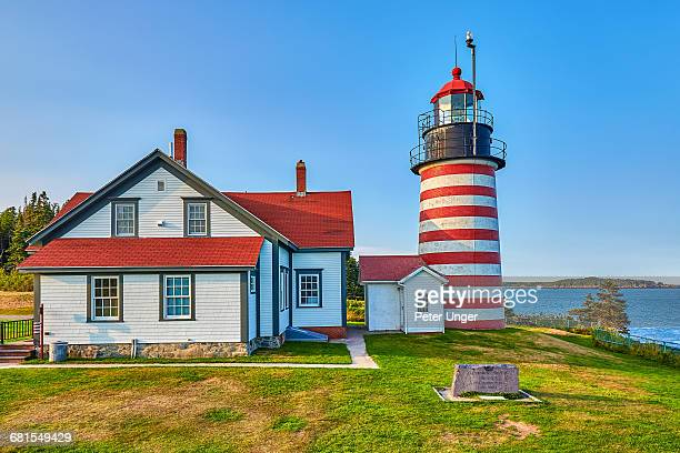 west quoddy head light,maine,usa - west quoddy head lighthouse stock photos and pictures