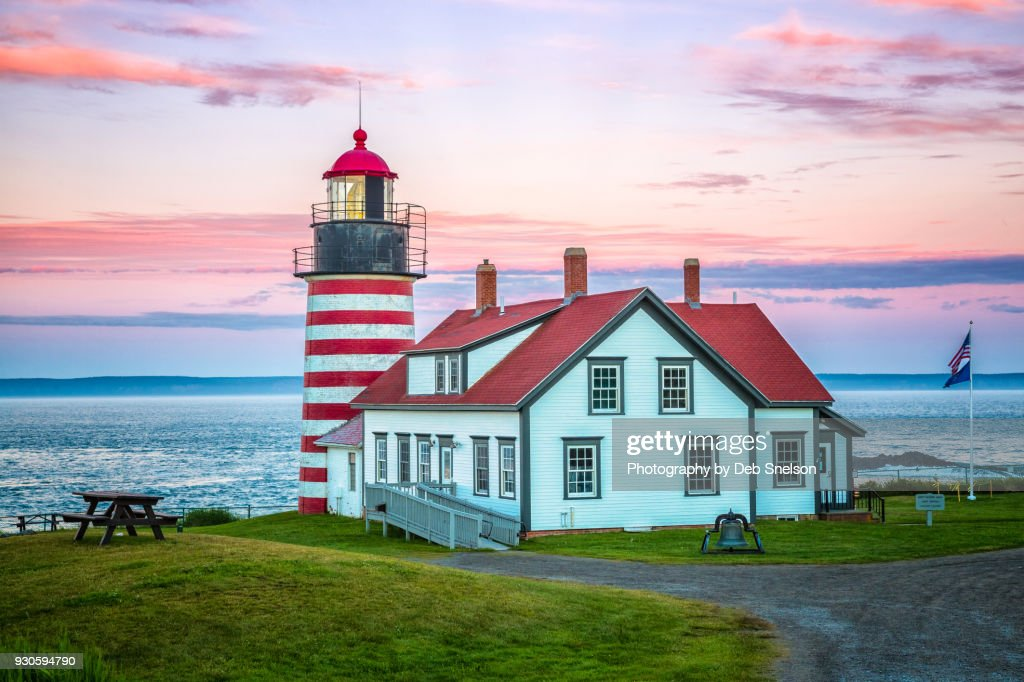West Quoddy Lighthouse at Sunset in Lubec Maine : Stock Photo