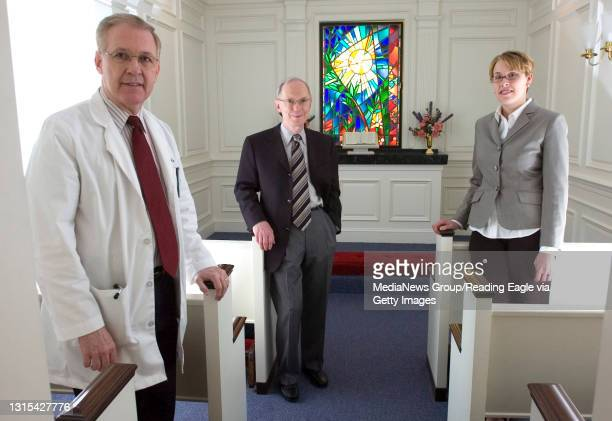 West Reading, PA 200701603- In the Reading Hospital Darrah Memorial Chapel Thursday afternoon are Dr. J. Michael Eager, Dr. Alex T. Massengale, and...
