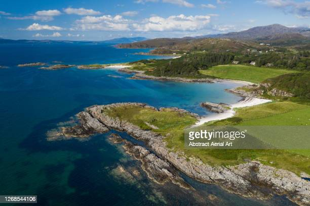 west scotland coastline seen from the air, united kingdom - coastline stock pictures, royalty-free photos & images