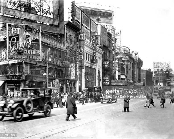 West side of Broadway in Manahattan NYCNew YorkLooking north from 46th street shows Park and Taylor on corner at left next is Globe theatre at which...