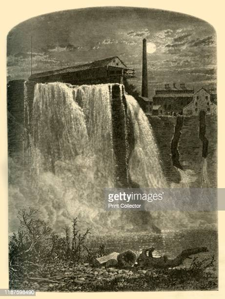 West Side Upper Falls of the Genesee' 1874 Waterfalls on the Genesee River at Rochester New York State USA The 'Upper Fallsare ninetysix feet in...