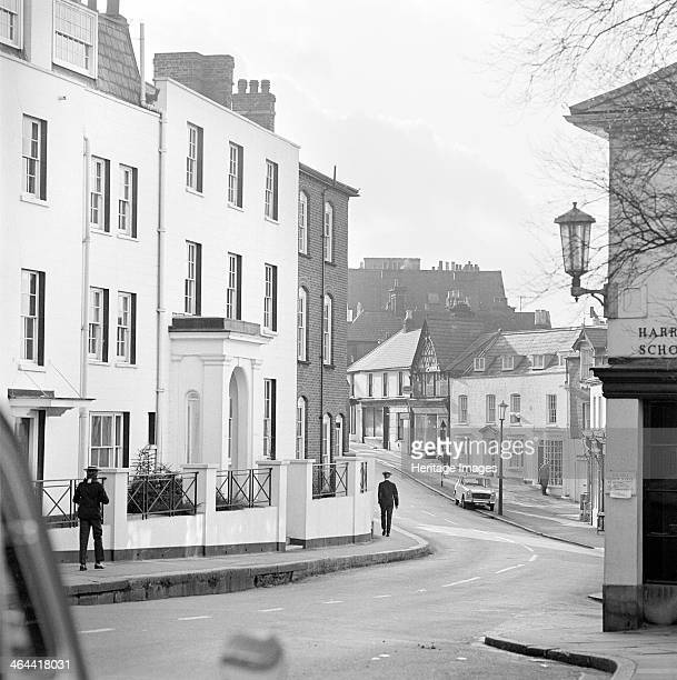 West Street Harrow On The Hill Harrow London 19621964 A view looking along High Street with Moretons one of the houses of Harrow School on the left...