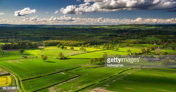 west sussex countryside - aerial panorama - scena rurale foto e immagini stock
