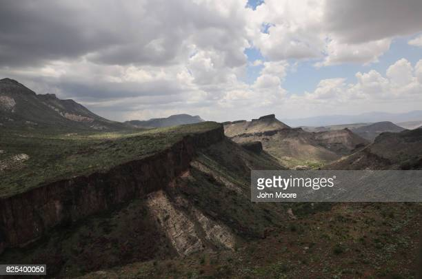 West Texas Big Bend region stretches along the USMexico border on August 1 2017 as seen from a US Customs and Border Protection helicopter near...