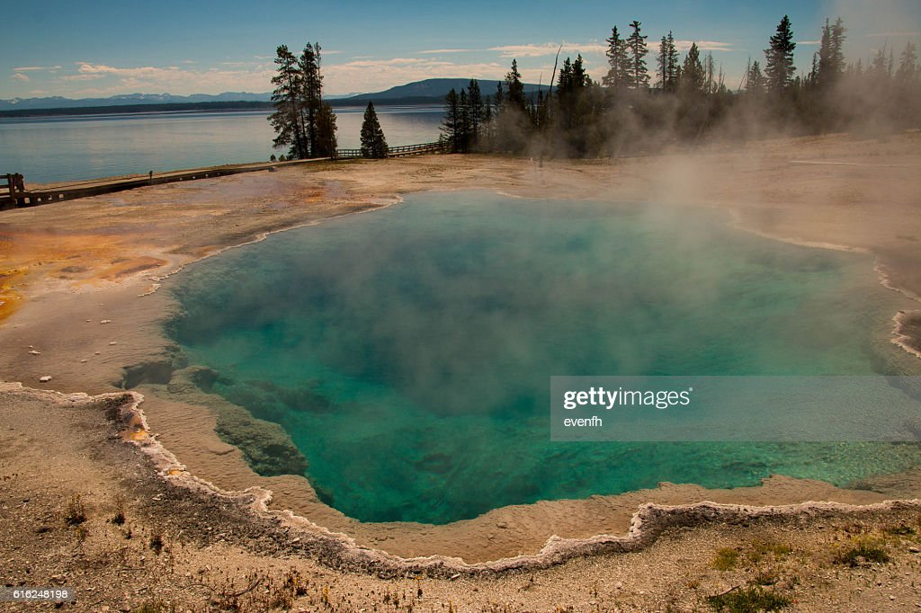 West Thumb Geyser Basin, Yellowstone National Park : Stock Photo