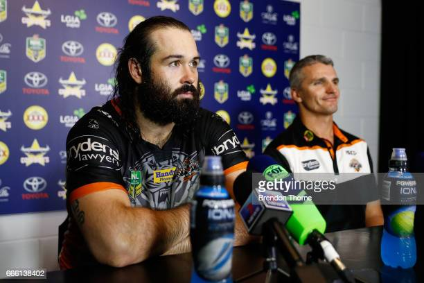 West Tigers coach Ivan Cleary and Aaron Woods of the Tigers speak with the media following the round six NRL match between the North Queensland...