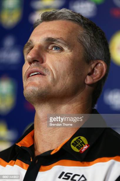 West Tigers coach Ivan Cleary speaks with the media following the round six NRL match between the North Queensland Cowboys and the Wests Tigers at...