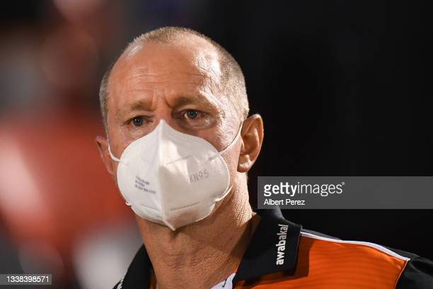 West Tigers coach Michael Maguire looks on after his team's defeat the round 25 NRL match between the Wests Tigers and the Canterbury Bulldogs at...