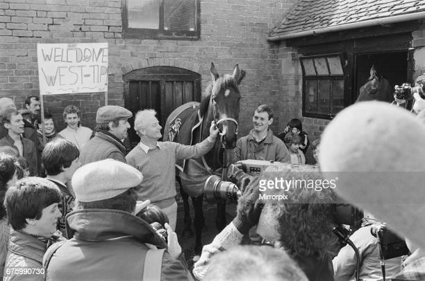 West Tip seen here on his return to his stables after winning the 1986 Grands National surrounded by the media 6th April 1986