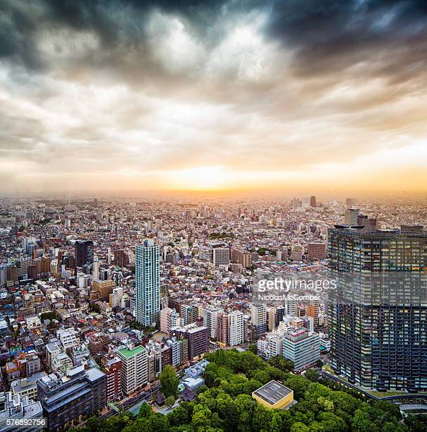 West Tokyo Japan aerial view with sunset and dramatic sky