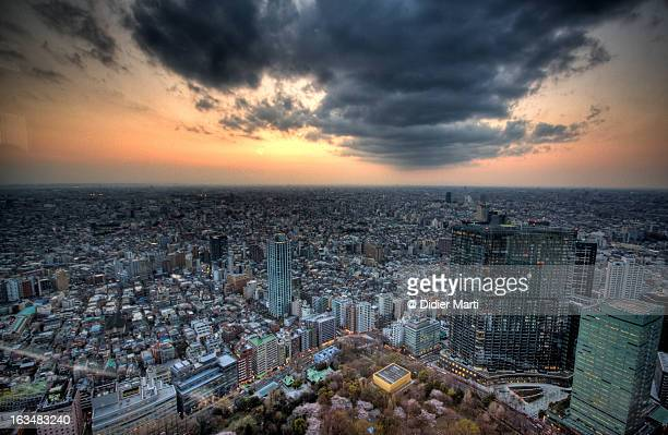 west tokyo sunset - didier marti stock photos and pictures
