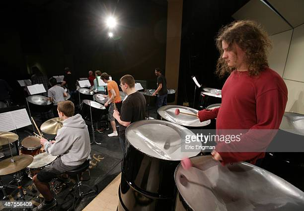 West Valley High School student Moki RigbyRonningen plays the six bass steel drums during a concert rehearsal before GRAMMY Camp Basic Training on...