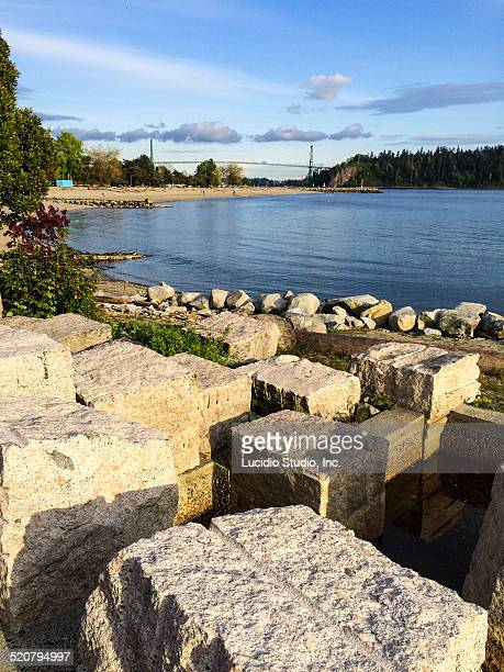 west vancouver looking towards  lions gate bridge - english bay stock photos and pictures