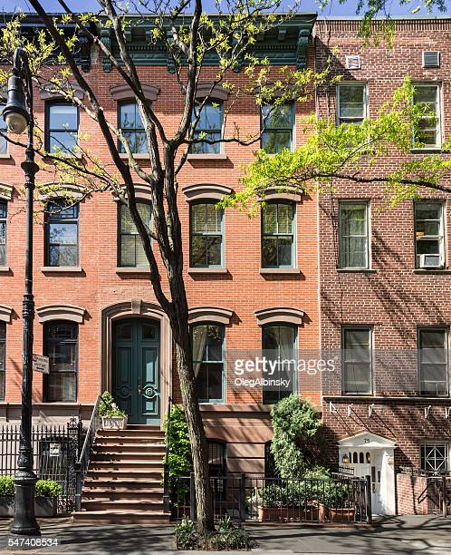 West Village Red Brick Townhouses (Row houses), New York City.