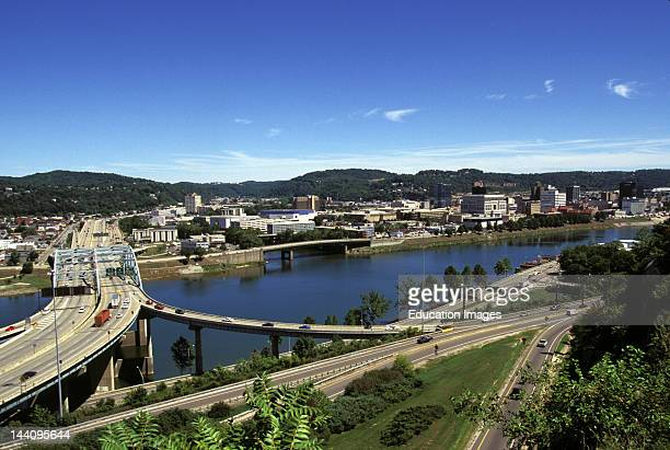 West Virginia Charleston Highway River And Overview Of City