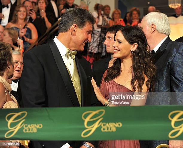 West Virginia Governor Joe Manchin and Jennifer Garner attend the ribbon cutting at The Greenbrier for the gala opening of the Casino Club on July 2,...