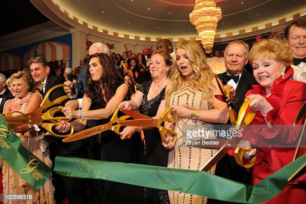 West Virginia Governor Joe Manchin, owner and chairman of The Greenbrier Jim Justice, Brooke Shields, Kathy Justice, singer Jessica Simpson and...