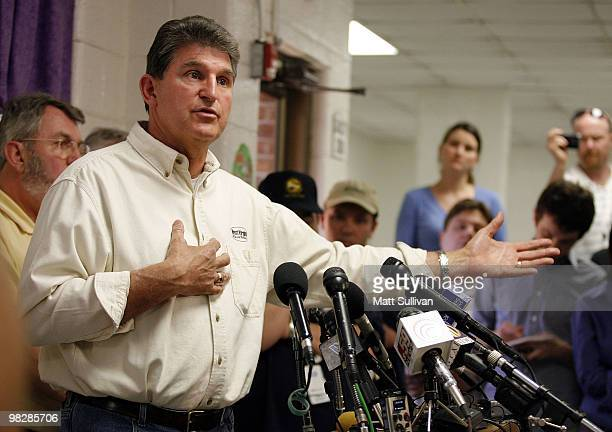 West Virginia Governor Joe Manchin speaks to members of the media near a section of the Upper Big Branch Mine on April on April 6, 2010 in Montcoal,...