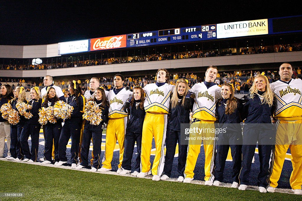 West Virginia Mountaineers Cheerleaders Celebrate Following Their Win  Against The University Of Pittsburgh Panthers During The