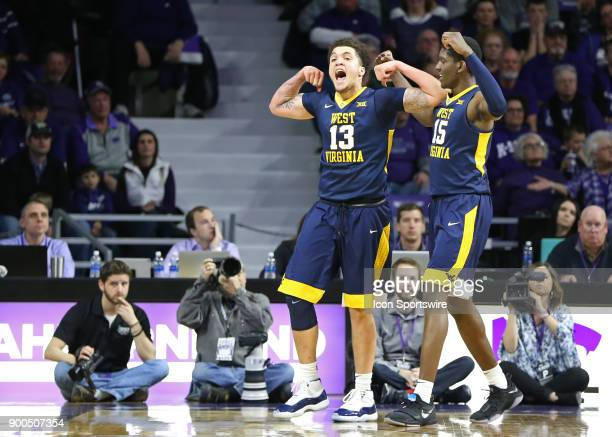 West Virginia Mountaineers forward Teddy Allen celebrates a breakaway layup late in the first half of a Big 12 game between the West Virginia...