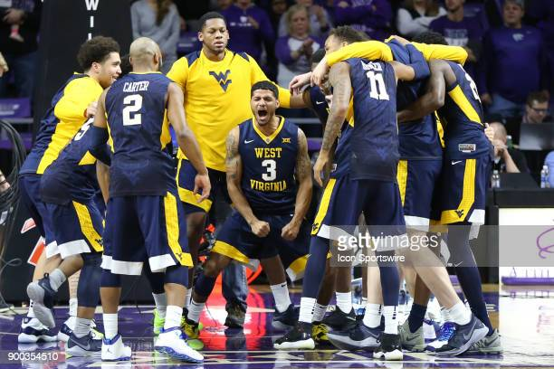 West Virginia Mountaineers guard James Bolden fires up his team before a Big 12 game between the West Virginia Mountaineers and Kansas State Wildcats...
