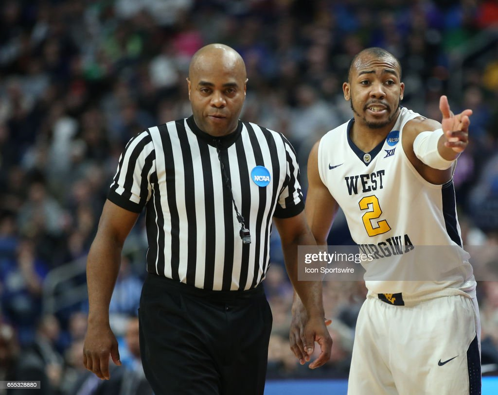 West Virginia Mountaineers guard Jevon Carter (2) pleads his case to the referee during the NCAA Division 1 Men's Basketball Championship game between Notre Dame Fighting Irish and West Virginia Mountaineers on March 18, 2017 at the Key Bank Center in Buffalo, NY.