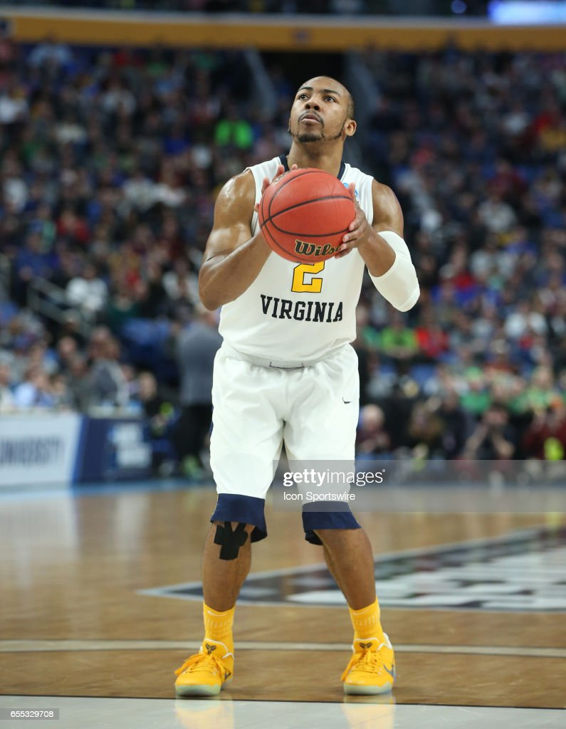 West Virginia Mountaineers guard Jevon Carter (2) shoots a free throw during the NCAA Division 1 Men's Basketball Championship game between Notre Dame Fighting Irish and West Virginia Mountaineers on March 18, 2017 at the Key Bank Center in Buffalo, NY.
