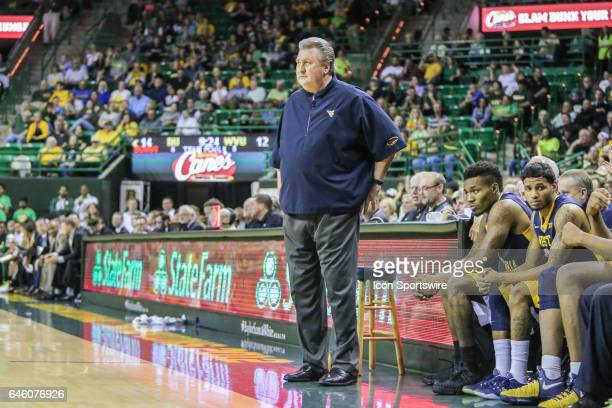 West Virginia Mountaineers head coach Bob Huggins looks on during the men's basketball game between Baylor and West Virginia on February 27 at the...