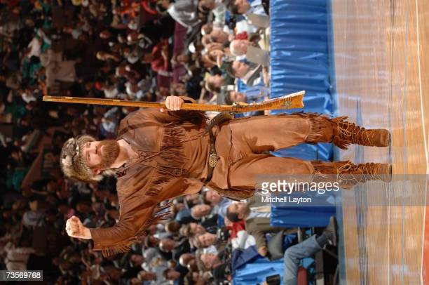 West Virginia Mountaineers mascot performs during a game against the Providence Friars in the Big East College Basketball Tournament First Round at...