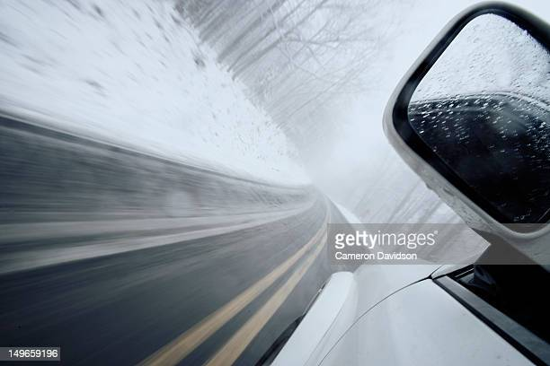 DRIVING IN West Virginia mountains during snowfall