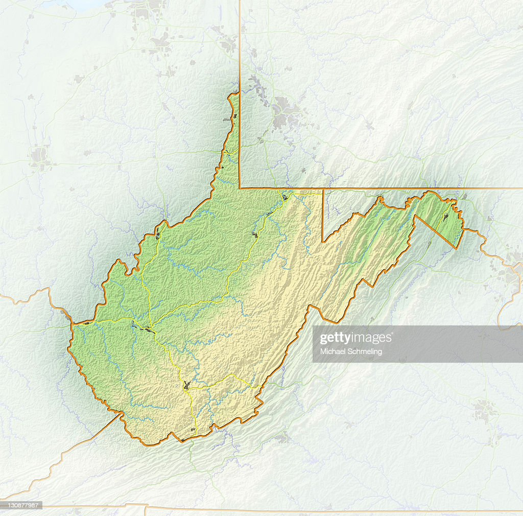 Relief Map Of Virginia.West Virginia Shaded Relief Map Usa Stock Photo Getty Images