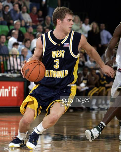 West Virginia's Patrick Beilein looks for an opening against South Florida in Thursday night's game at the Sundome in Tampa, Florida on January 5,...