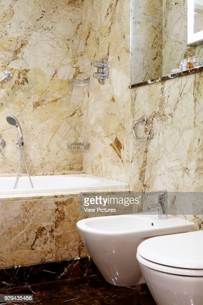 Westbury Hotel Mayfair London United Kingdom Architect Dorothy Draper Co 2014 Bathroom and toilet with marble surround