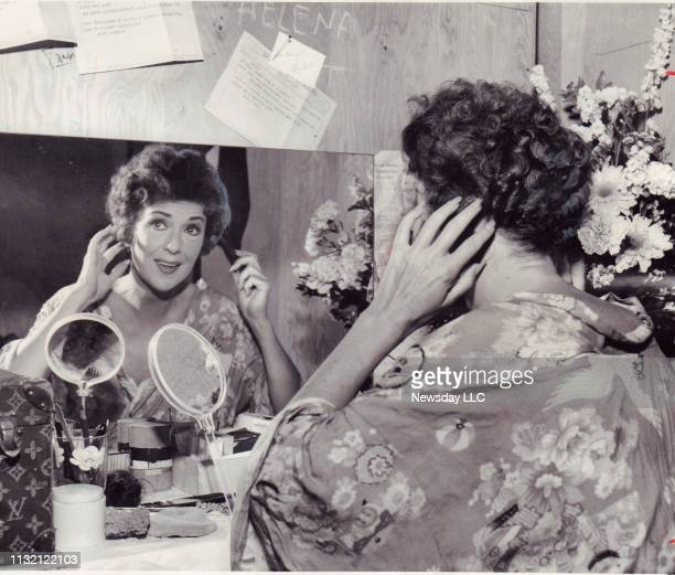 Entertainer Gypsy Rose Lee in her dressing room preparing to go on stage at the Westbury Music Fair in Westbury New York on July 9 1958