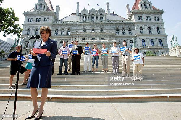 Westchester County District Attorney Jeanine Pirro refers to her notes as she announces her candidacy for the US Senate on the steps of the New York...