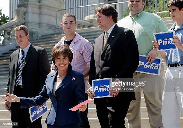 Westchester County District Attorney Jeanine Pirro smiles as she announces her candidacy for the US Senate on the steps of the New York State Capitol...