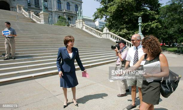Westchester County District Attorney Jeanine Pirro talks after she announced her candidacy for the US Senate on the steps of the New York State...