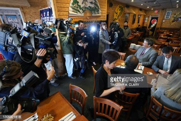 Westchester County Executive George Latimer and New Rochelle Mayor Noam Bramson are surrounded by the press as they have lunch at Eden Wok Kosher...