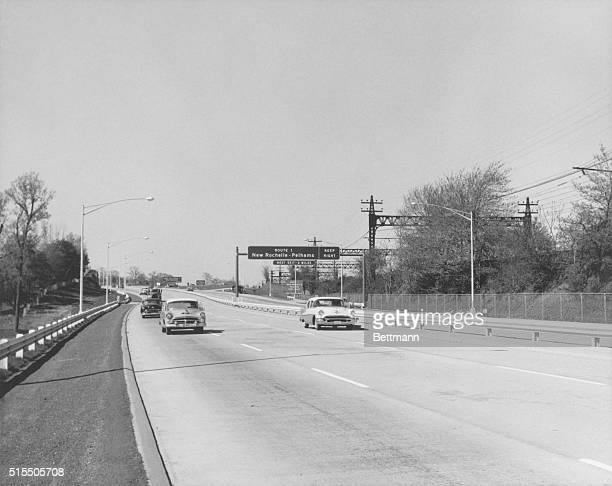 Westchester, New York: Cars on the New York State Thruway, ca. 1955.