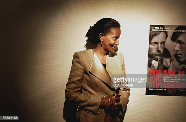 Somaliborn Dutch politician Ayaan Hirsi Ali opens an exhibition on persecution of homosexuals during the German occupation at Westerbork...