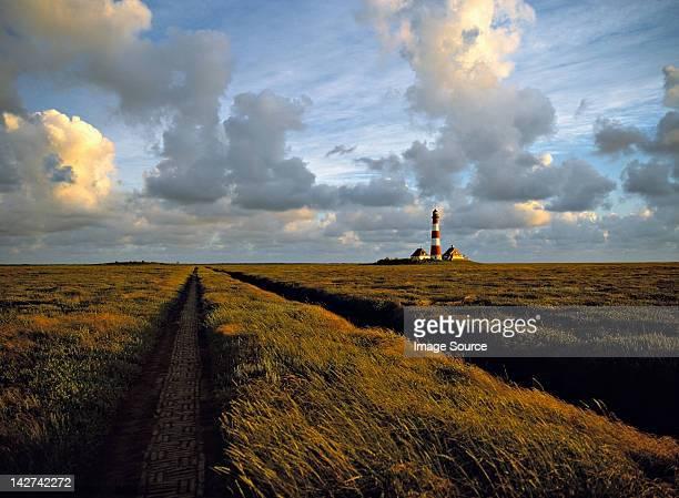 westerhever lighthouse in marshland, schleswig-holstein, germany - schleswig holstein stock-fotos und bilder