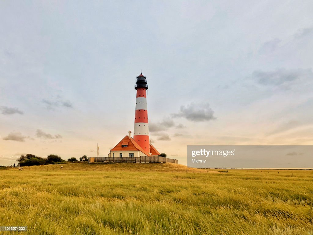 Westerheversand Lighthouse Nordfriesland Germany : Stock Photo