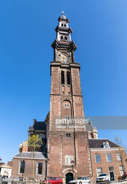 westerkerk in amsterdam, netherlands - anne frank house stock pictures, royalty-free photos & images