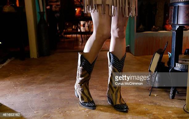 Western apparel at The Denver International Western/English Apparel Equipment Market the Denver Mart on Friday January 16 2015 Tiffany McGhan wears...