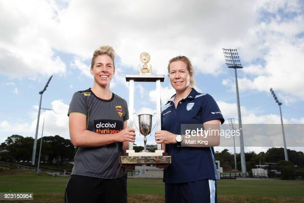 Western Australia captain Elyse Villani and New South Wales captain Alex Blackwell pose with the WNCL trophy during a WNCL Final Media Opportunity at...