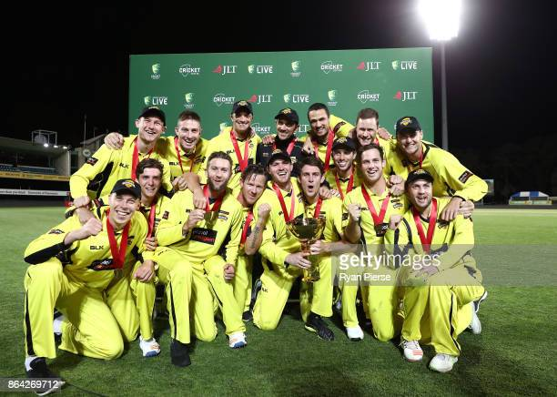 Western Australia celebrate with the trophy after the JLT One Day Cup Final match between Western Australia and South Australia at Blundstone Arena...
